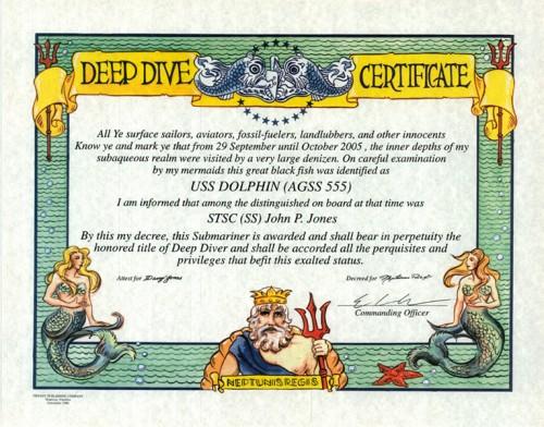 Deep Dive Certificate