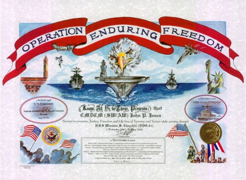 Operation Enduring Freedom Certificate