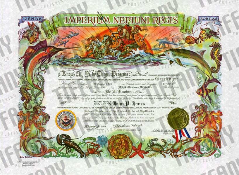 Shellback Certificate Tiffany Publishing