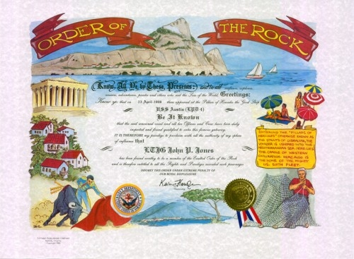 Order of the Rock Certificate